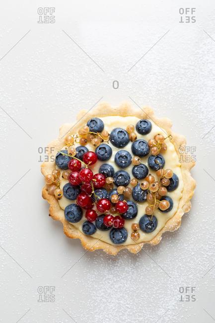 Blueberry summer pie on white background