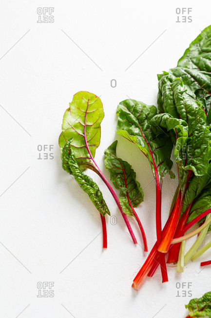 Overhead view of mangold salad leaves on white background