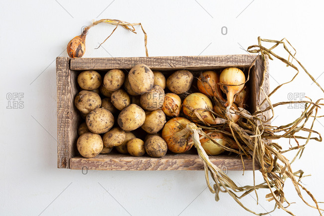 Overhead view of potatoes and onions in crate