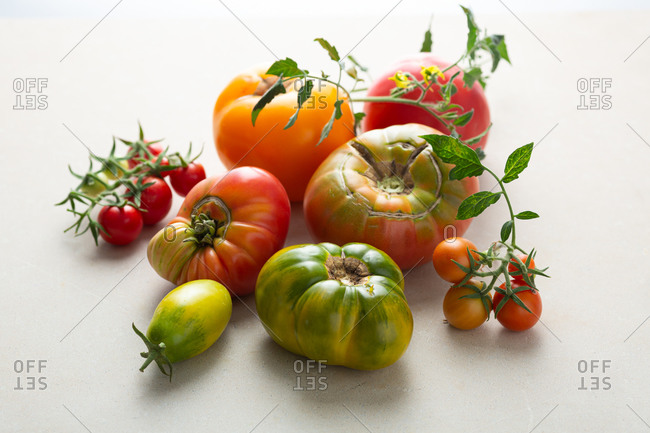 Close up of fresh heirloom tomatoes
