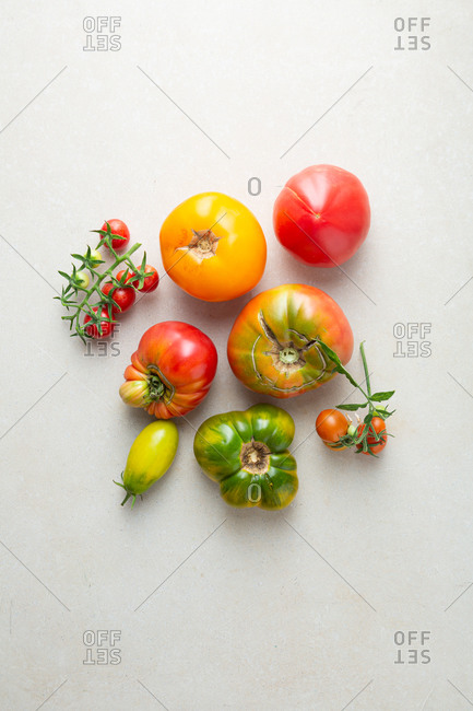 Overhead view of fresh heirloom tomatoes