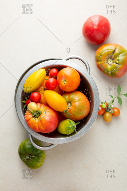 Overhead view of whole heirloom tomatoes in sieve