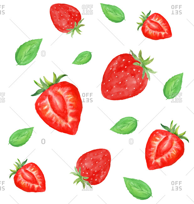 Strawberries and leaves illustration - Offset