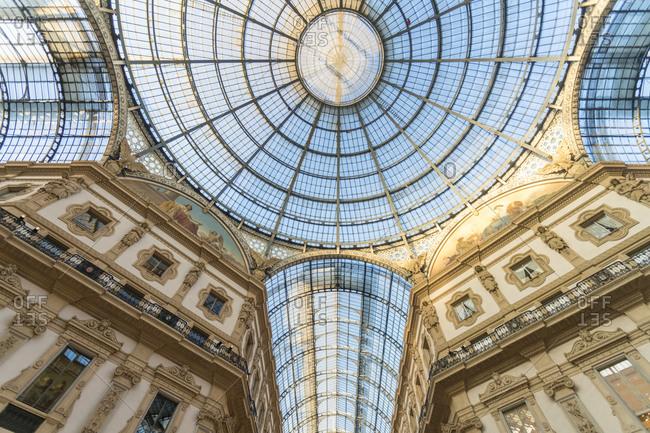 Italy, Lombardy, Milan - January 19, 2018: Interior of Galleria Vittorio Emanuele II in Milan