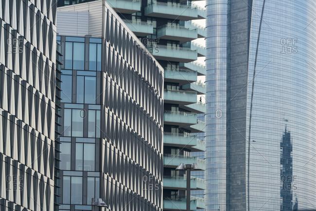 Closeup of towers at Porta Garibaldi financial district business center