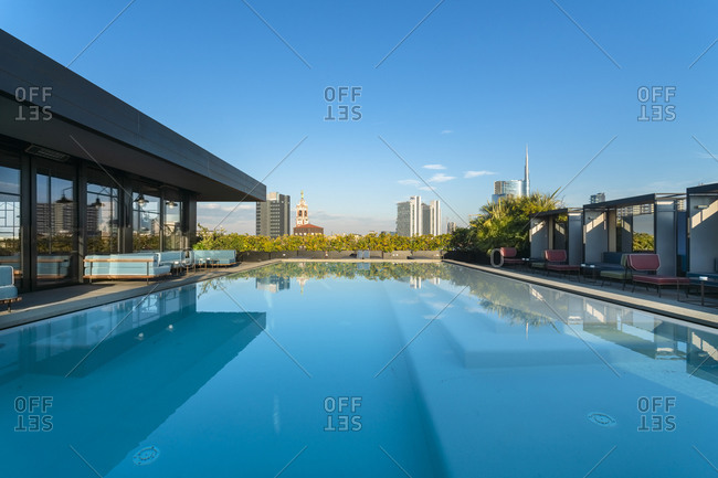 Italy, Lombardy, Milan - January 22, 2018: Swimming pool on a rooftop at Porta Garibaldi business district