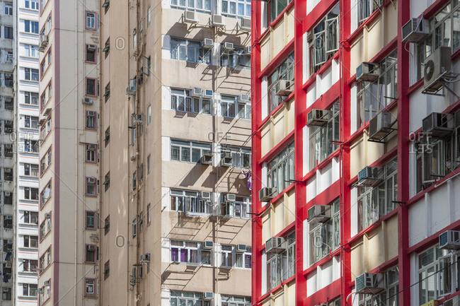 detail of residential buildings in Hong Kong
