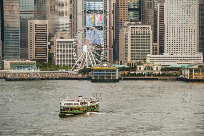 Hong Kong, Hong Kong - June 14, 2015: Ferry crossing Victoria harbor in Hong Kong