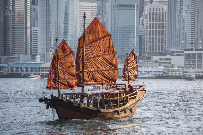 traditional junk boat at Victoria Harbor in Hong Kong