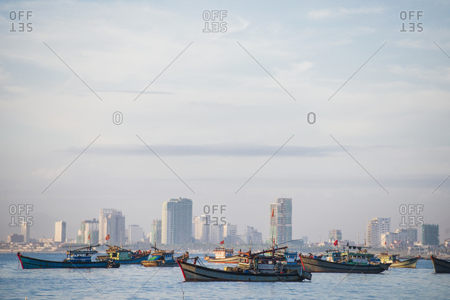 Da Nang, Da Nang, Vietnam - November 21, 2015: Fishing vessels anchored at the bay of Da Nang
