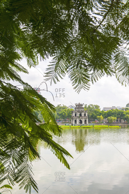 The iconic turtle tower in Hoan Kiem Lake in Hanoi