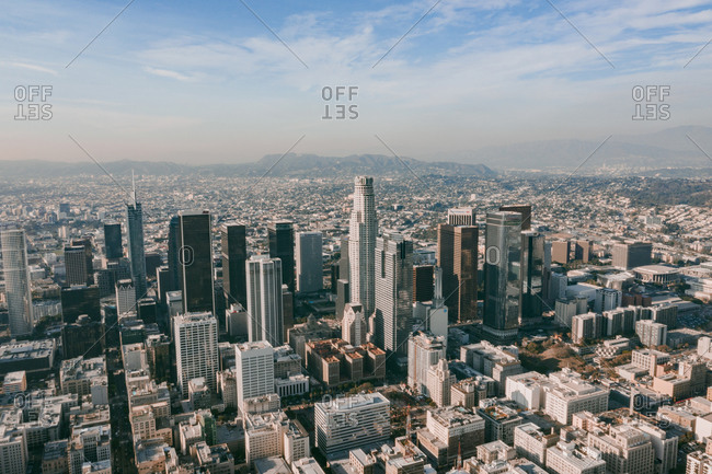 United States, California, Los Angeles - November 16, 2018: Circa November 2019: Aerial Drone View of Downtown Los Angeles, California on beautiful Sunny Day