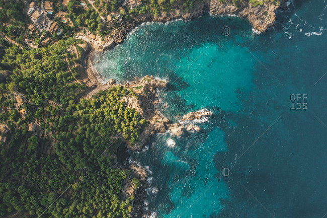 AERIAL: Tropical Coastline with Rich Colors and Turquise Water in Spain