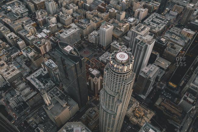 United States, California, Los Angeles - November 16, 2018: Circa November 2019: Spectacular Aerial Drone Shot of Downtown Los Angeles, California