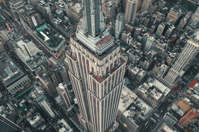 New York, NY, United States - September 9, 2019: Circa September 2019: Breathtaking Overhead Aerial View of Empire State Building in Manhattan, New York City