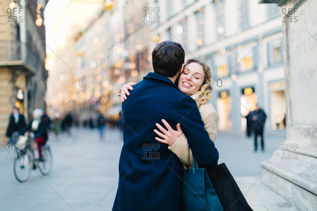 Couple hugging at piazza, Firenze, Toscana, Italy