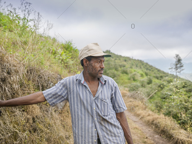 Portrait of manager on coffee farm in the Blue Mountains, Jamaica.
