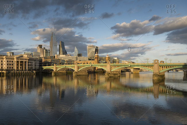 River Thames and Blackfriars Bridge and view towards the City of London