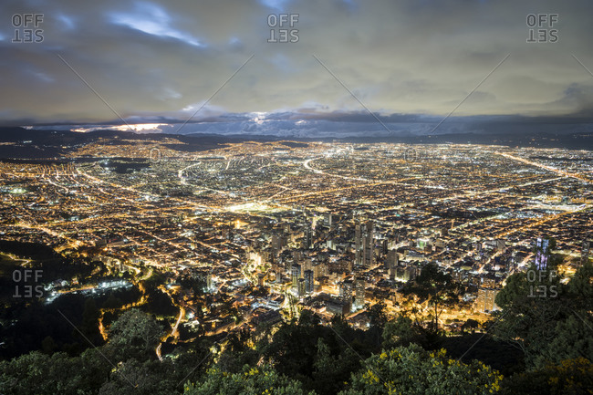 View from Cerro Monserrate at twilight over the city of Bogota