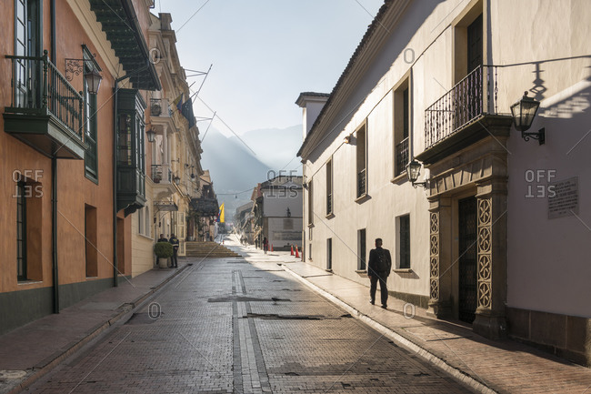 Cartagena, Colombia - January 2, 2020: View along cobbled residential street in Cartagena