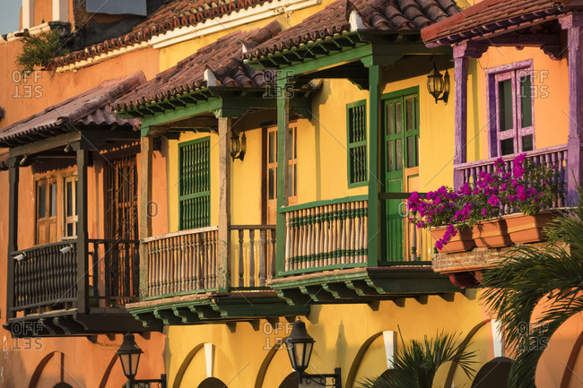 Historic houses with colorful balconies in Cartagena