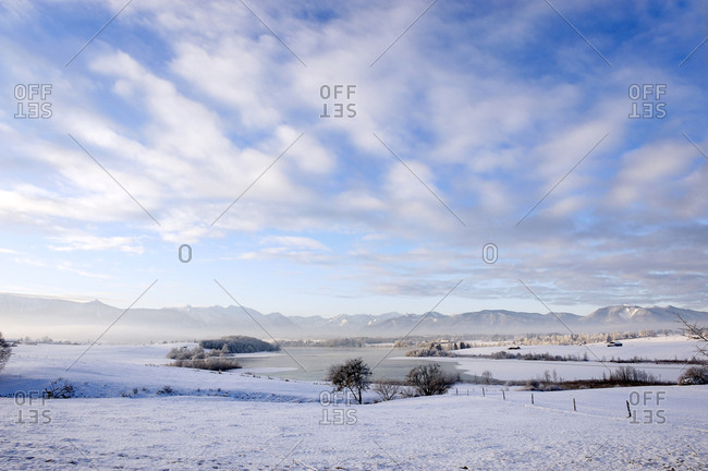 Germany- Bavaria- Scenic view ofRiegsee Lake in winter