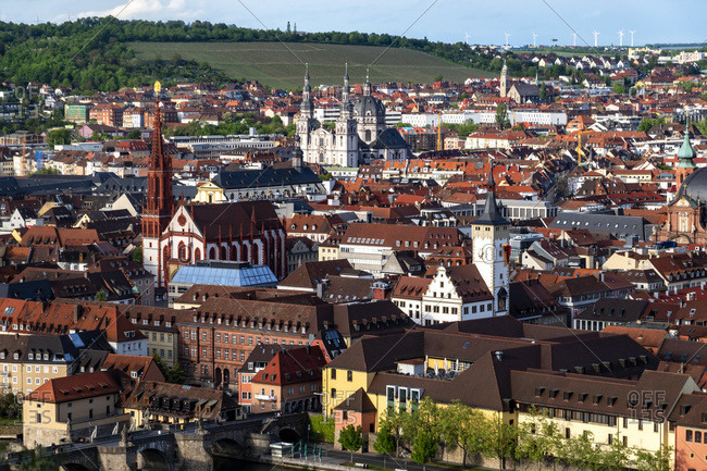Germany- Franconia- Bavaria- Wuerzburg- View of old town from Marienberg Fortress
