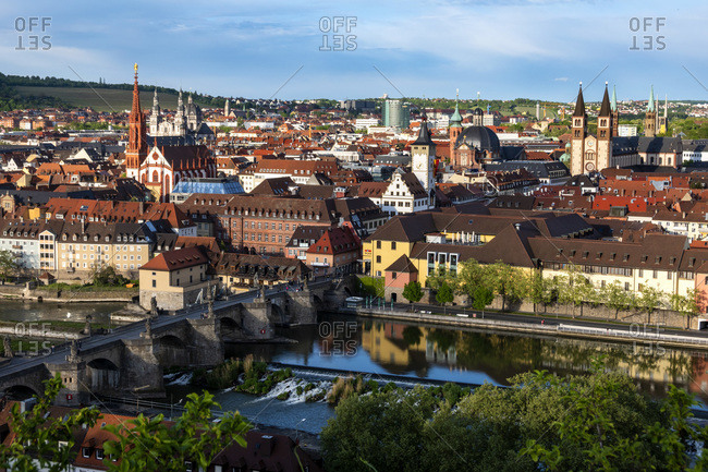 Germany- Franconia- Bavaria- Wuerzburg- View of old town with Old Main Bridge on Main river