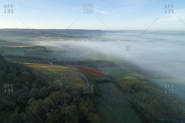 Germany- Bavaria- Drone view of Franconian Heights shrouded in thick morning fog