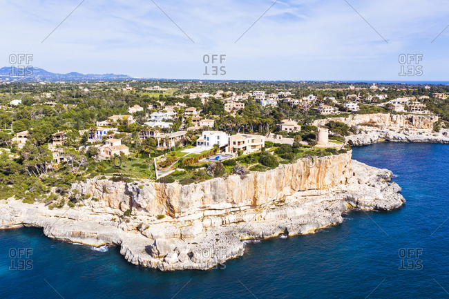 Spain- Mallorca- Santanyi- Drone view of coastal village in summer