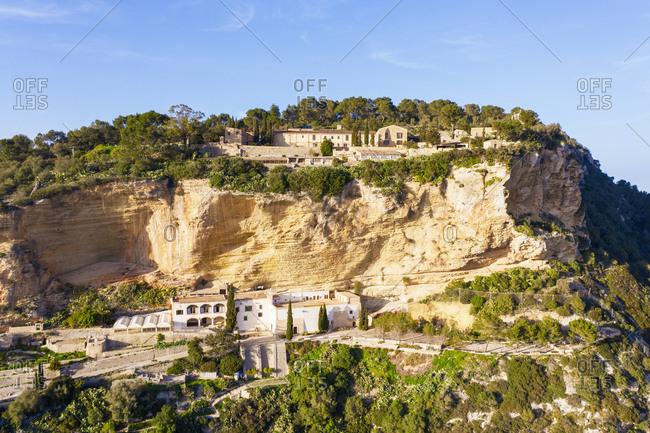 Spain- Mallorca- Drone view of Ermita de Sant Honorat and Santuari de Nostra Senyora de Gracia in summer