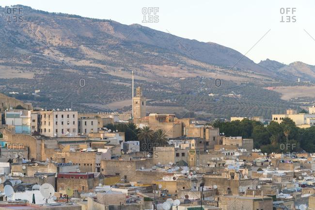 Morocco- Fes-Meknes- Fes- Medina Fes el Bali with hills in background