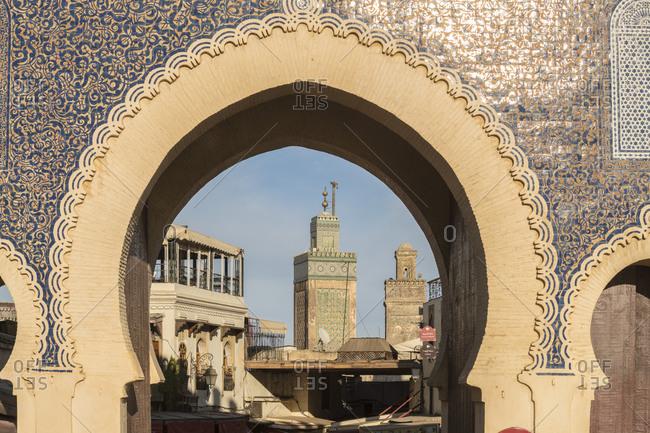 Morocco- Fes-Meknes- Fes- Arch of Bab Bou Jeloud city gate