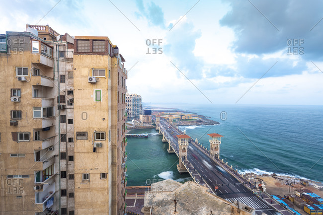 Egypt- Alexandria- Stanley bridge with apartment building in foreground