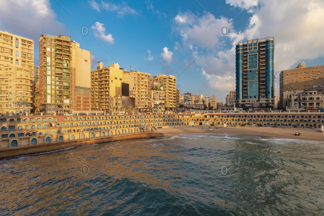 Egypt- Alexandria- Cityscape with Stanley beach at sunset