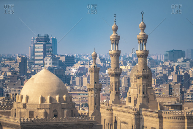 Egypt- Cairo- Salah El Deen Square withMosque-Madrassa of Sultan Hassan and Al Refaai Mosque