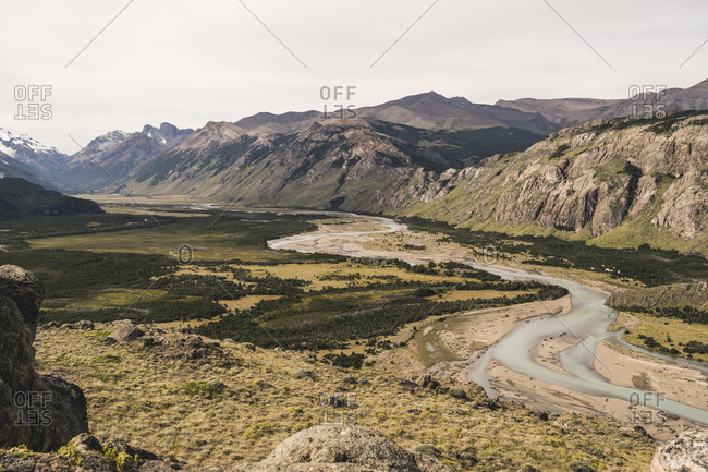 Scenic view of landscape and mountains against sky during sunny day- Patagonia- Argentina