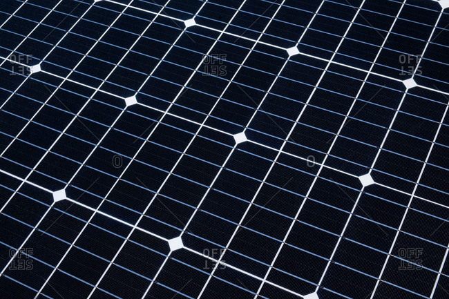 Close-up of solar panel grid pattern