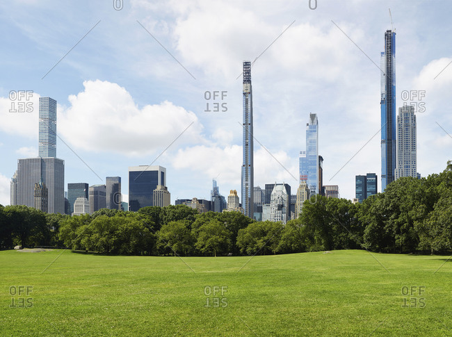 USA, New York, New York City - June 21, 2020: Central Park with city skyline
