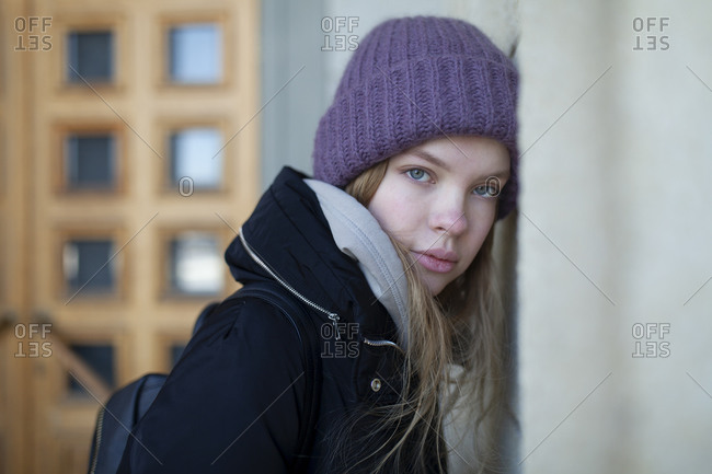 Russia, Novosibirsk, Portrait of young woman in knit hat