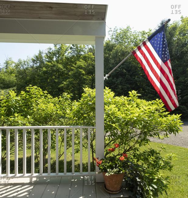 USA, US flag on porch