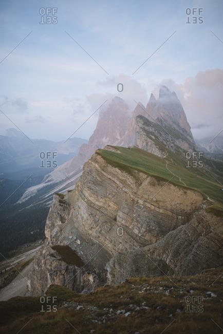 Italy, Dolomite Alps, Seceda mountain, Scenic view of Seceda mountain in Dolomites