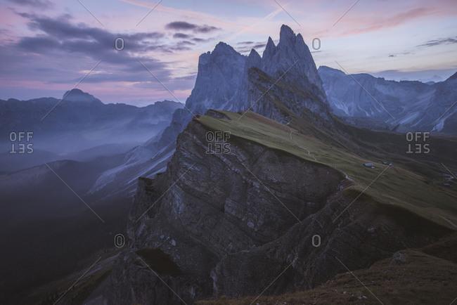 Italy, Dolomite Alps, Seceda mountain, Scenic view of Seceda mountain in Dolomites at sunset