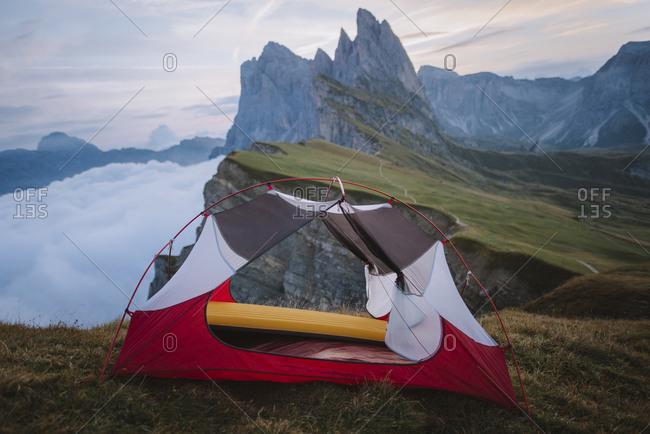 Italy, Dolomite Alps, Seceda mountain, Tent at Seceda mountain in Dolomites