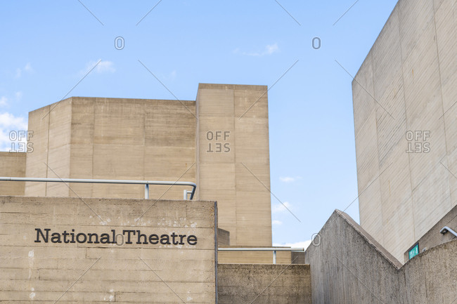 London, United Kingdom - July 6, 2020: The distinctive concrete block architecture of the National Theatre in London