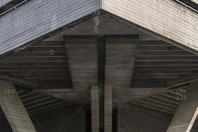 The distinctive concrete block architecture of the National Theatre in London