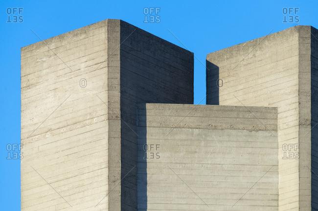 Concrete block architecture of the National Theatre in London