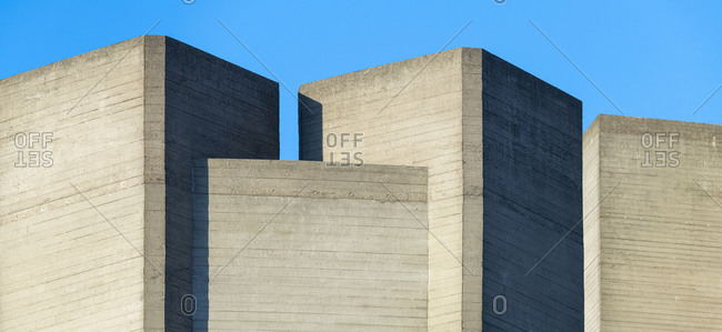 Panoramic view of the distinctive concrete block architecture of the National Theatre in London