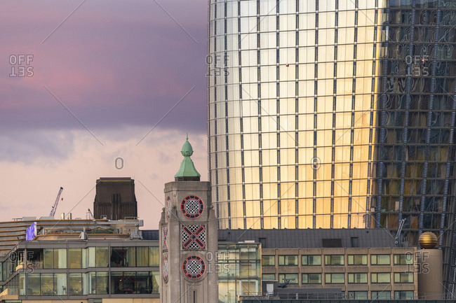 Blackfriars tower and the Oxo tower in London