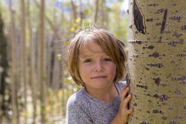 Portrait of 4 year old boy hiding behind aspen tree